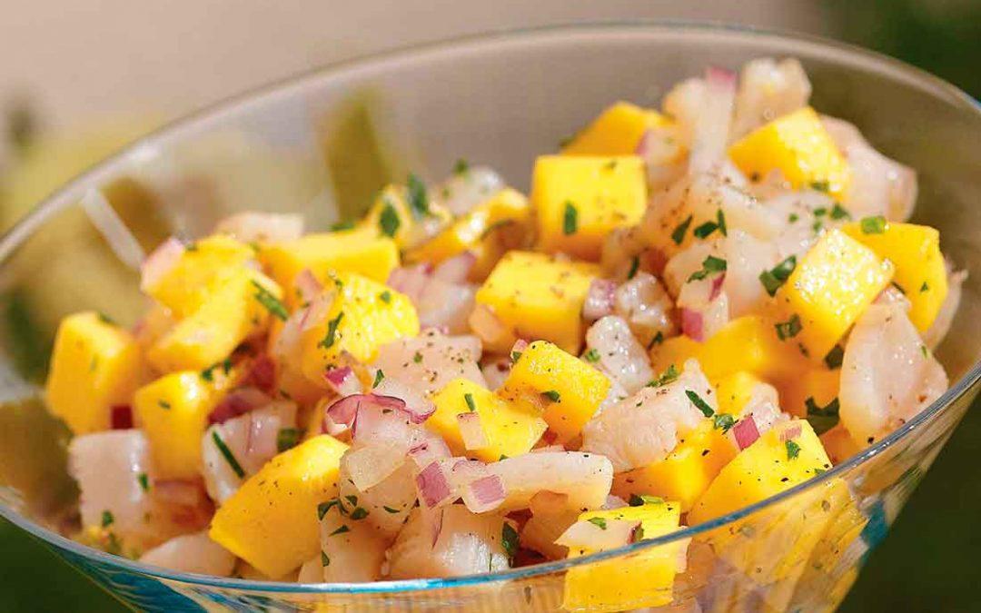 Ceviche de pescado con mango
